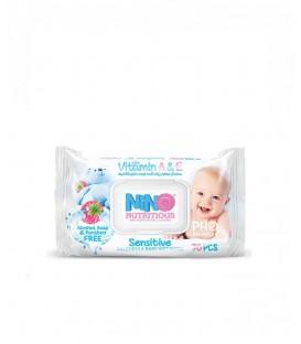 دستمال مرطوب کودک حساس نینو | بسته 70 عددی