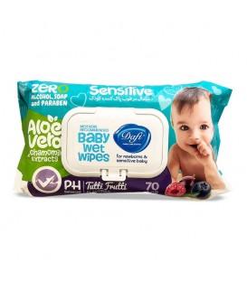 دستمال مرطوب کودک دافی مناسب پوست حساس طرح میوه ای 70 عددی